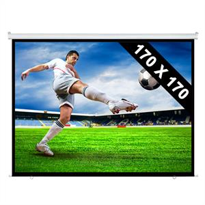 Roll-up Home Cinema Projector Screen HDTV 170x170cm: Click to enlarge image!
