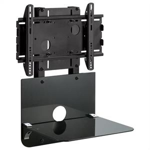 Black LCD TV Wall Mount Bracket with shelf - 86kg Load: Click to enlarge image!