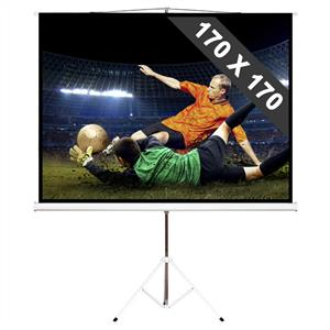 "96"" Portable Tripod Home Cinema Presentation Projector Screen - 170 x 170cm: Click to enlarge image!"