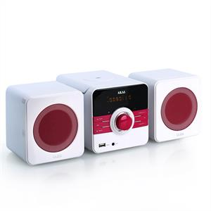 Akai AMDD02 DVD Compact Hifi Stereo USB MP3 Radio - Pink: Click to enlarge image!