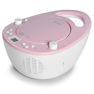 Denver TC-23c Top Loading Portable CD Player Radio - Pink: Click to enlarge image!