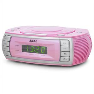 Akai ARC120PK Clock Radio CD Player Dual Alarm  Pink
