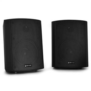 Pair QTX BC5A Wall Mountable Active Commercial Speaker Set 30W RMS Black: Click to enlarge image!