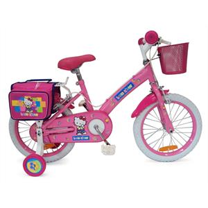 "Hello Kitty Pink 16"" Kids Bike with Basket and Stabilisers: Click to enlarge image!"