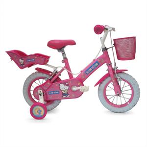 "Hello Kitty Pink 12"" Kids Bike with Basket and Stabilisers: Click to enlarge image!"