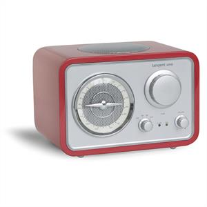 Tangent Uno - Retro Designed FM Radio with AUX Input  - Red: Click to enlarge image!