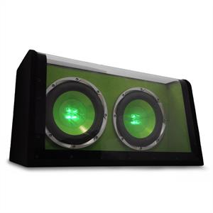 Treefrog BX10DW Double 10&amp;quot; Car Subwoofer Box 1200W Green: Click to enlarge image!