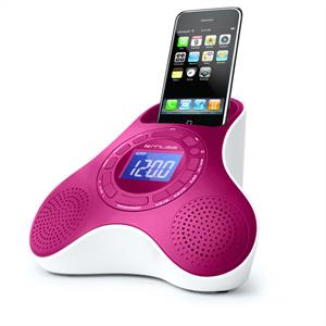 Muse M105-PI Alarm Clock Radio iPhone iPod Speaker Dock AUX: Click to enlarge image!