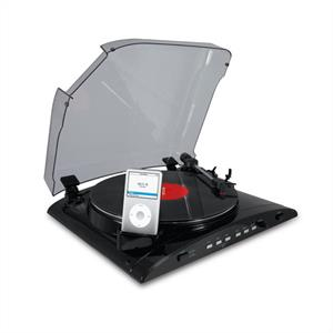 Ion iProfile USB Vinyl-to-MP3 Turntable with iPod Dock Black: Click to enlarge image!