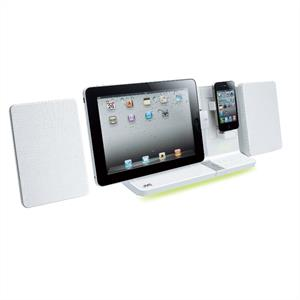 JVC VJ3 iPod iPhone iPad Speaker Dock USB Stereo 30W White: Click to enlarge image!