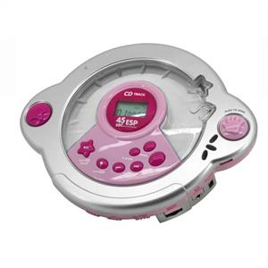 Soundmaster KCD-25 Kids Pink CD Player with Mic Headset: Click to enlarge image!