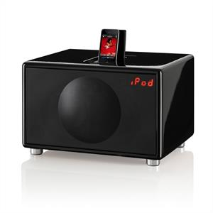 Geneva Lab Model L iPhone iPod Speaker Dock Radio - Black: Click to enlarge image!