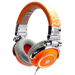 iDance Disco 600 Silver / Orange Portable DJ Headphones: Click to enlarge image!