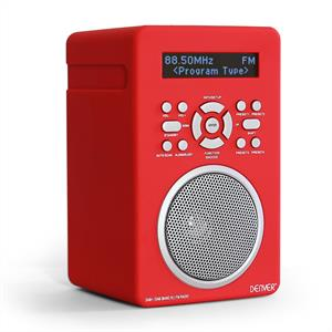 Denver DAB43 PLUS Digital Radio FM AUX Alarm Clock  Red