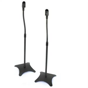 Pair Satellite Speaker Stands Surround Sound Home Cinema - Black: Click to enlarge image!