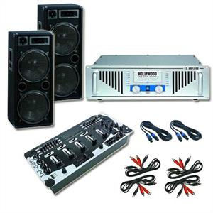 Complete PA DJ Amplifier, Speaker & Mixer Set 2000 Watt System: Click to enlarge image!