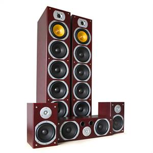 Beng V9B 5 Channel Home Theatre Speaker Set Mahogany 1240W MAX: Click to enlarge image!