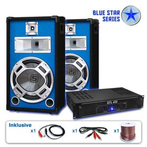 "Blue Star Series ""Starter"" DJ PA System 1200 Watt Set: Click to enlarge image!"