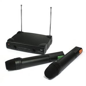 VHF Wireless Karaoke PA Microphone Set: Click to enlarge image!