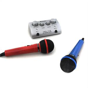 Skytec Mini Karaoke Microphone Set with 2 Mics: Click to enlarge image!