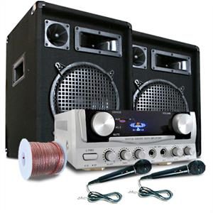 &amp;quot;READY 2 GO&amp;quot; PA Set Speakers Microphones + 400W Amp: Click to enlarge image!