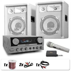 DJ PA System White Star &amp;quot;Greenland&amp;quot; Speakers, Amp &amp; Wireless Mic Set: Click to enlarge image!