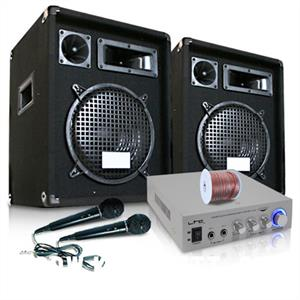 """READY 2 GO V3"" PA DJ Karaoke System Speakers Amp & Mic: Click to enlarge image!"