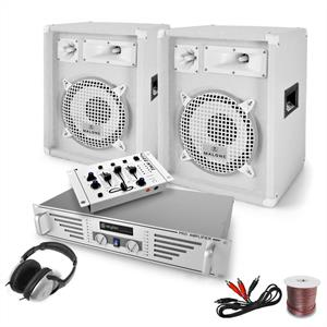 DJ PA System 'White Bassalt' Mixer Amplifier Speakers 1200W Set: Click to enlarge image!