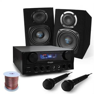 'Rio Rumble' Basic PA DJ Karaoke System Amplifier & Speakers Package: Click to enlarge image!