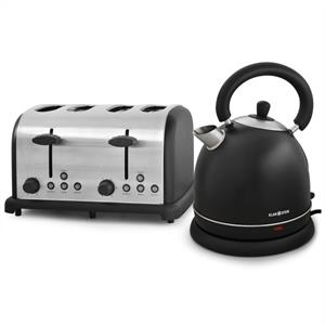 Klarstein Designer Black&amp;quot; Bed &amp; Breakfast&amp;quot; - Toaster + Kettle Set: Click to enlarge image!