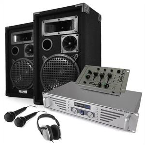 PA System DJ Set 'Startup' Speakers Amp Mixer Mics 600W: Click to enlarge image!