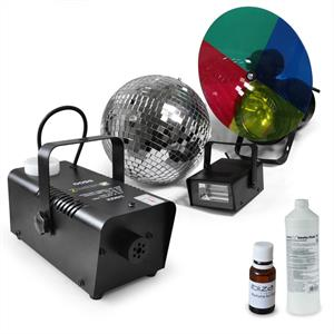 Party Light Set &amp;quot;Deneb&amp;quot; Strobe, Disco Ball &amp; Fog Machine: Click to enlarge image!