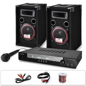 "DJ PA System ""DJ-10"" Set 1000W Speakers Amplifier Microphone: Click to enlarge image!"