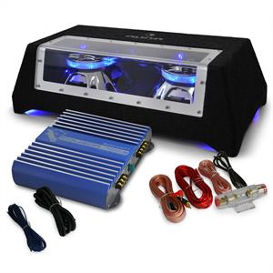 Car Audio HiFi System 'Blue Line 120' Subwoofer, Amplifier 1600W Set: Click to enlarge image!