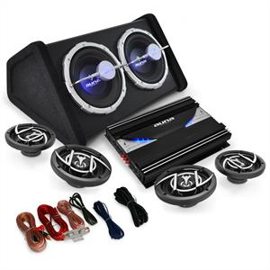 4.1 'Black Line 520' Car Hifi Stereo System Amplifier Subwoofer Set 5000W: Click to enlarge image!