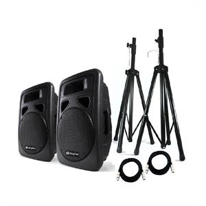 Best-4-Music Skytec 12&amp;quot; Active PA Speakers with Tripod Stands + Bag: Click to enlarge image!