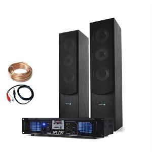 Home HiFi Laptop CD Stereo Tower Speakers MP3 USB SD FM Amplifier 700 Watts: Click to enlarge image!