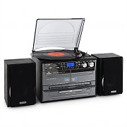 Auna Stereo Hi-Fi Turntable System Twin Cassette Vinyl/CD/MP3 USB SD