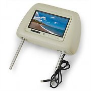 "Cougar Car Headrest 7"" LCD Built In Monitor Display - Beige"