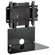 Black LCD TV Wall Mount Bracket with shelf - 86kg Load
