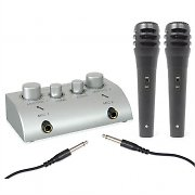 Skytec Mini Karaoke Microphone Set with 2 Mics