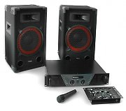 "Complete Ibiza ""DJ 300"" PA Set with Amplifier Speakers Mixer"