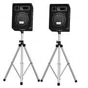 Pair Tripod Speaker Stand for PA Speakers 25kg Load - Silver