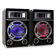 Skytec PA Speaker Set USB SD MP3 LED Light Effect 500W