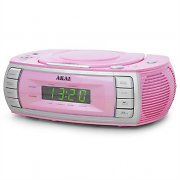 Akai ARC120PK Clock Radio CD Player Dual Alarm - Pink