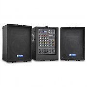 Skytec 2 x 75 Watt RMS 2-Way Speaker Stereo Mixer Portable PA System USB SD