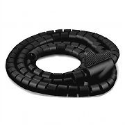 Connexx 2m Black Spiral Cable Tidy with Clip 25mm Diameter