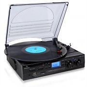 Auna TT-186E Stereo Turntable Record Player LP USB SD MP3 Recording Black