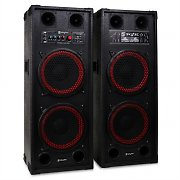 "Skytec SPB-210 Pair Dual 10"" Bass Master/Slave Powered PA Speakers USB SD MP3"