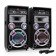 Skytec SPD-10V Active/Passive PA Speaker Pair + VHF Wireless Mic 800W